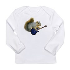 Squirrel with Blue Guitar Long Sleeve Infant T-Shi