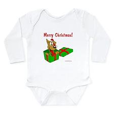 Dog w/ Santa Hat Gift Long Sleeve Infant Bodysuit