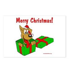 Dog w/ Santa Hat Gift Postcards (Package of 8)