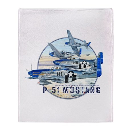 352nd FG P-51 Mustang airplane Throw Blanket