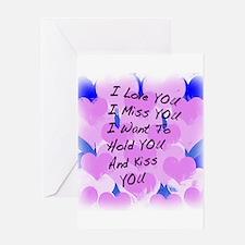I LOVE U I MISS U Greeting Card