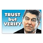 Reagan - Trust But Verify Sticker (Rectangle)