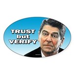 Reagan - Trust But Verify Sticker (Oval 50 pk)