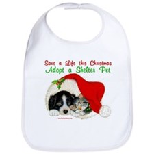 Christmas Puppy & Kitten Bib