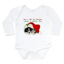 Christmas Puppy & Kitten Long Sleeve Infant Bodysu