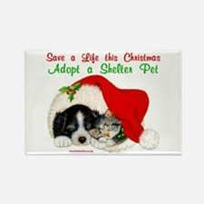 Christmas Puppy & Kitten Rectangle Magnet