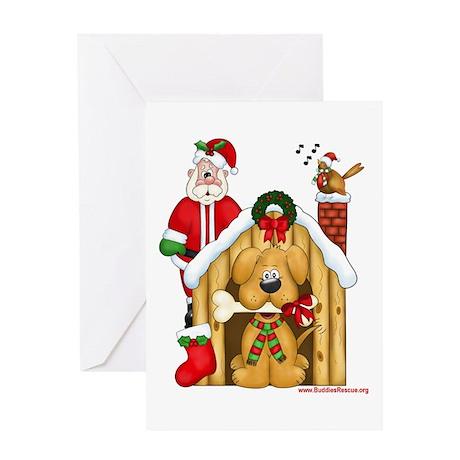 Santa & Dog House Greeting Card