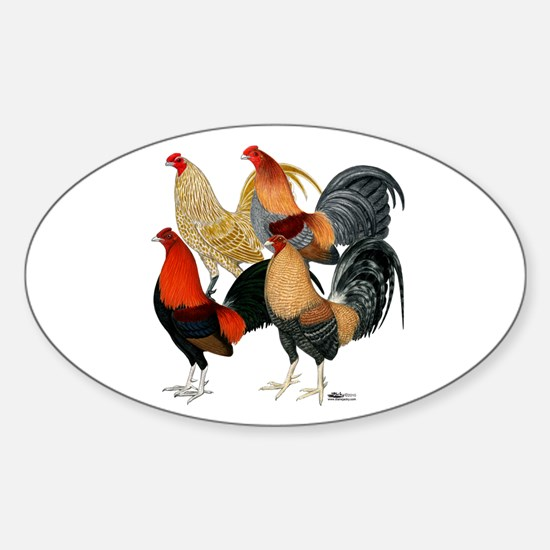Four Gamecocks Sticker (Oval)