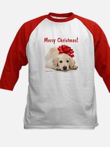 Christmas Lab Puppy Kids Baseball Jersey