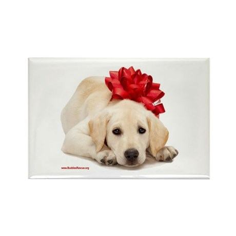 Christmas Lab Puppy Rectangle Magnet (10 pack)