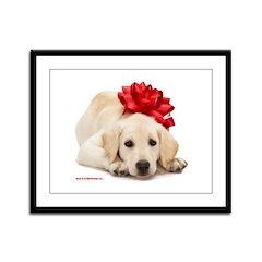 Christmas Lab Puppy Framed Panel Print
