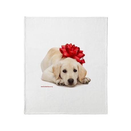 Christmas Lab Puppy Throw Blanket