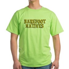 Green T-shirt with front and back logos.