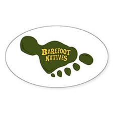 Oval Sticker with foot logo.