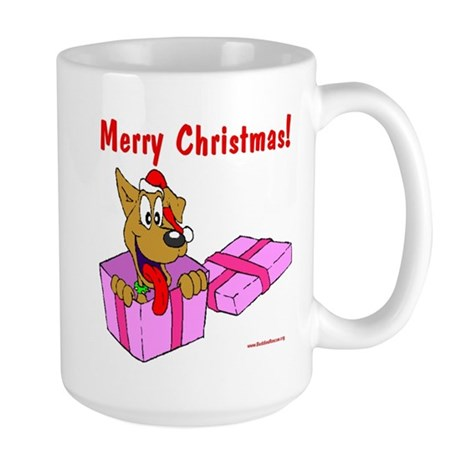 Christmas Dog in Box Large Mug