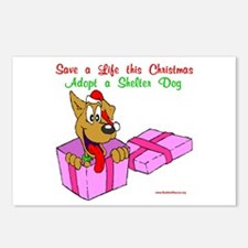 Christmas Dog in Box Postcards (Package of 8)