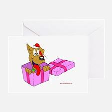 Christmas Dog in Box Greeting Card