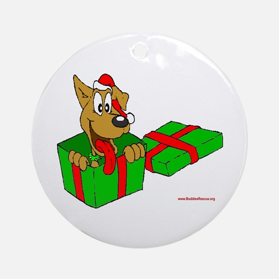 Dog w/ Santa Hat Gift Ornament (Round)