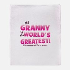 World's Greatest Granny (pink Throw Blanket
