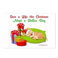 Puppy w/ Christmas Gifts Postcards (Package of 8)