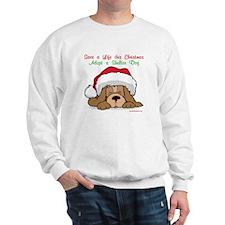 Puppy w/ Santa Hat Sweatshirt