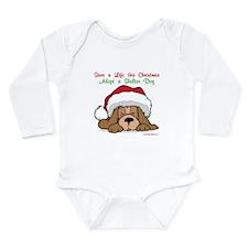 Puppy w/ Santa Hat Long Sleeve Infant Bodysuit