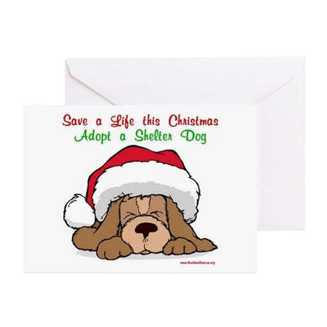 Puppy w/ Santa Hat Greeting Cards (Pk of 10)
