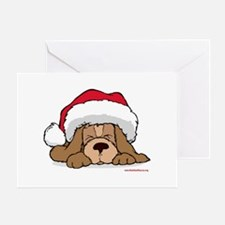 Puppy w/ Santa Hat Greeting Card