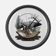 Big game elk and deer Large Wall Clock
