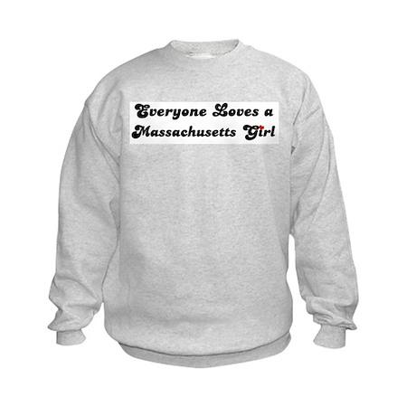 Loves Massachusetts Girl Kids Sweatshirt