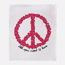 Hearts Peace Sign Throw Blanket