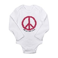 Hearts Peace Sign Long Sleeve Infant Bodysuit