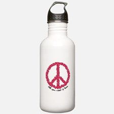 Hearts Peace Sign Water Bottle