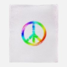 Tie Dye Peace Sign Throw Blanket
