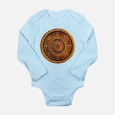 Compass Rose in Brown Long Sleeve Infant Bodysuit