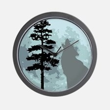 Gray Wolf Moon Wall Clock