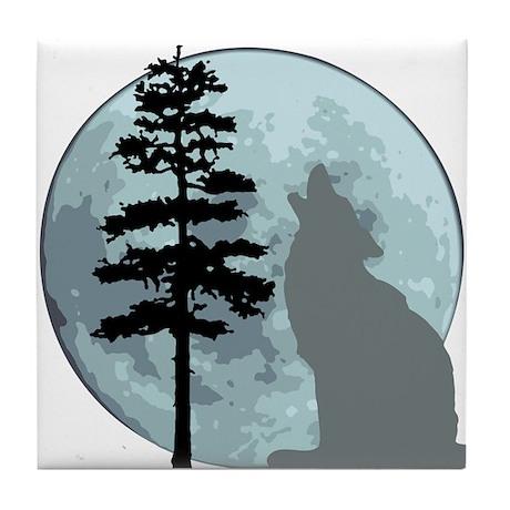 Gray Wolf Moon Tile Coaster