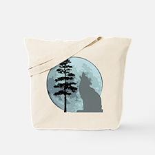 Gray Wolf Moon Tote Bag