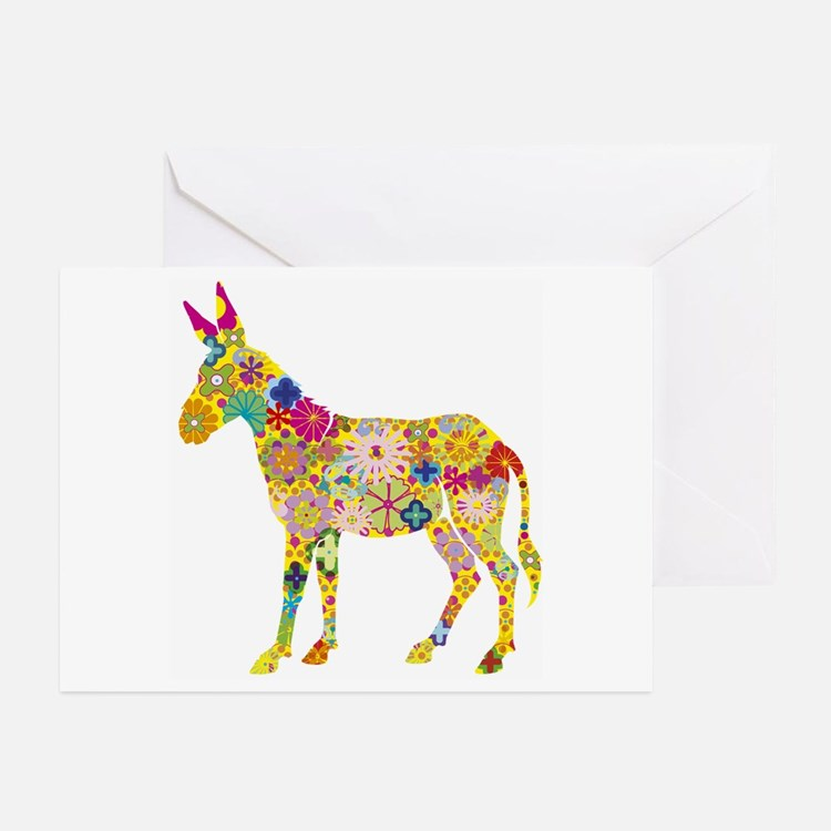 Greeting Cards (Pk of 20) - Flower Donkey