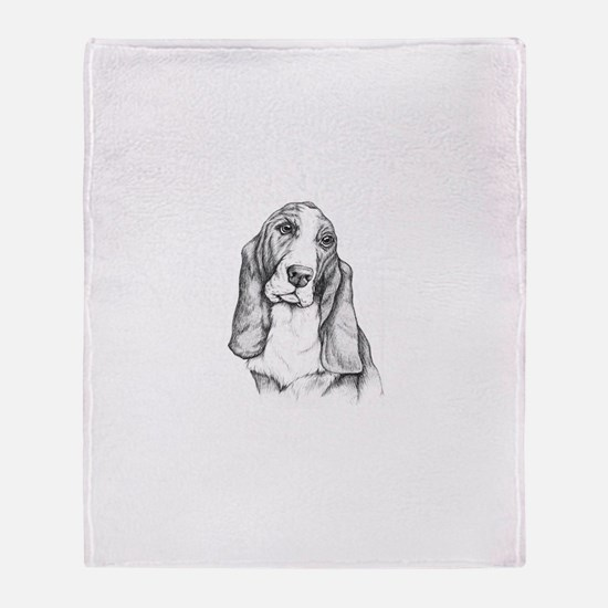 Basset Hound drawing Throw Blanket
