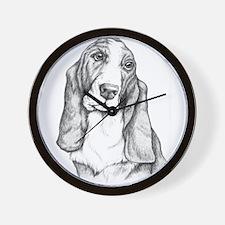 Basset Hound drawing Wall Clock
