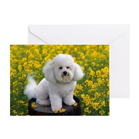 BICHON YELLOW FLOWER FIELD Greeting Card