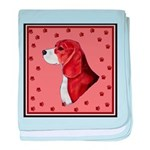 Beagle with pawprints baby blanket
