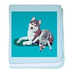 Siberian Husky and Puppy baby blanket