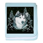 Alaskan Malamute with Snow baby blanket