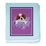 St. Bernard Puppy with flower baby blanket