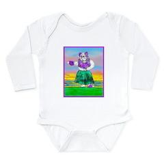 Hula Bulldog Long Sleeve Infant Bodysuit