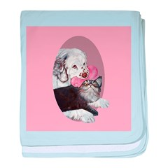 Clumber Spaniel & cat baby blanket