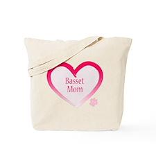 Basset Pink Heart Tote Bag