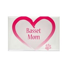 Basset Pink Heart Rectangle Magnet